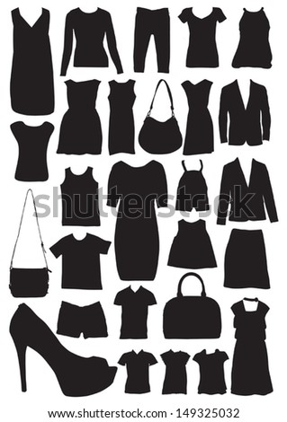 fashion clothes silhouettes illustrations vector