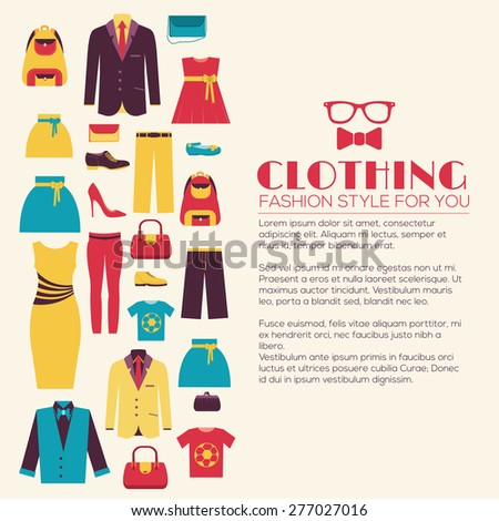 Fashion clothing infographics template concept. Icons design for your product or design, web and mobile applications. Vector flat with long shadow illustration on blue background - stock vector
