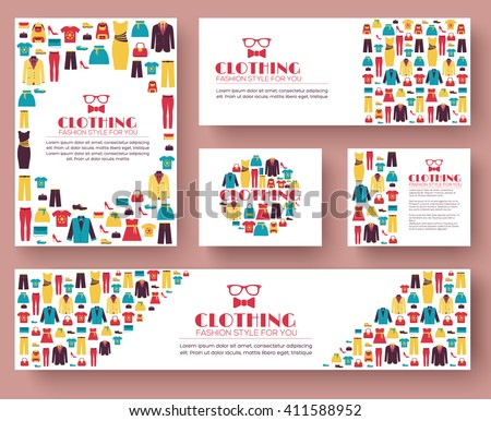 Fashion clothing infographics template concept. Icons for your product or design, web and mobile applications. Vector flat with long shadow illustration on blue background - stock vector