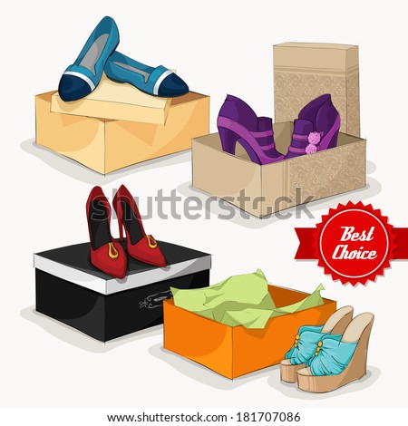Fashion collection of classic woman's shoes ankle boots sandals and ballet flats with gift boxes isolated vector illustration - stock vector