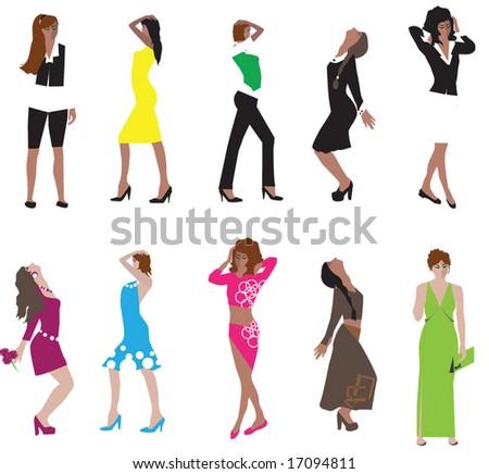 Fashion collection of vector girls.