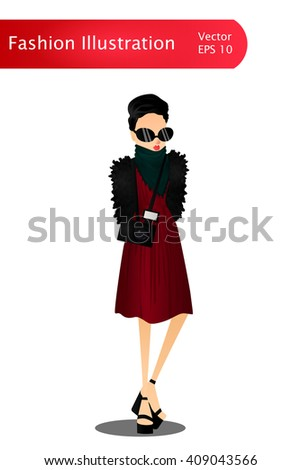Fashion Colorful Vector Stylish Girl Illustration with a Colorful Stylish Fashion Model Wearing Stylish Brand New Clothes and Accessories for the Fashion Week, Site, Book or Magazine Illustration - stock vector