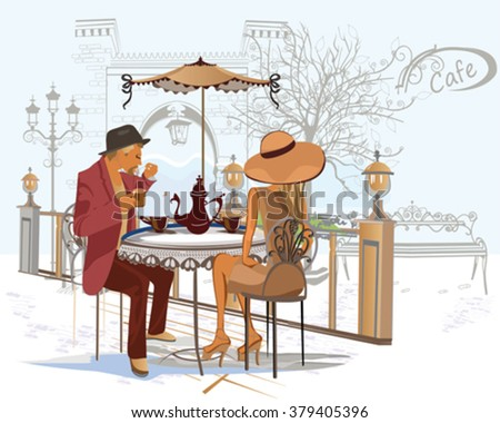 Fashion couple, man and woman,  drinking coffee at the street cafe. - stock vector