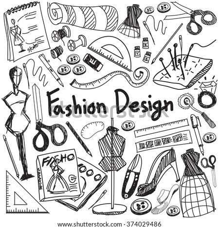 Fashion design education handwriting doodle icon tool sign and symbol in white isolated background paper used for designer presentation title with header text, create by vector