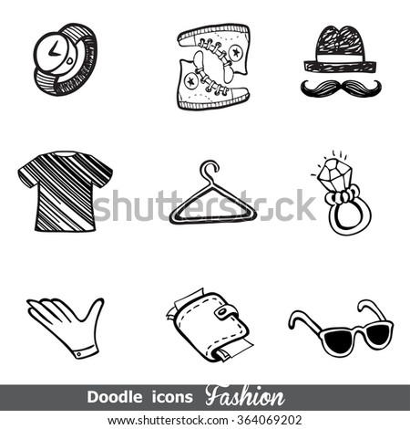 Fashion doodle icon set - stock vector