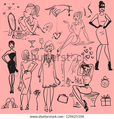 Fashion doodles, Hand drawn girls, sketch - stock vector