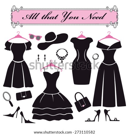 Fashion dress. Different styles of black cocktail party dress Silhouette set. Modern flat vector style.Composition with accessories,decoration ,swirling frame.Illustration - stock vector