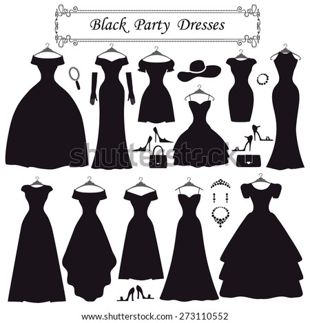 Fashion dress. Different styles of black party dress Silhouette set. Modern flat vector style.Composition with handbag,high heel shoes,jewelry decoration swirling frame.Isolated Vector Illustration - stock vector