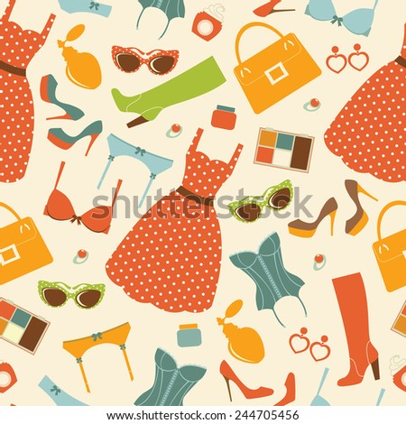 Fashion elements  colorful seamless pattern. vector illustration - stock vector