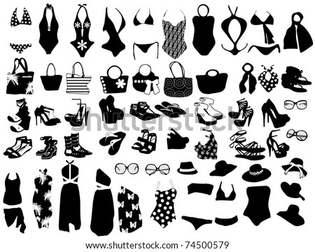 fashion elements for beach - stock vector