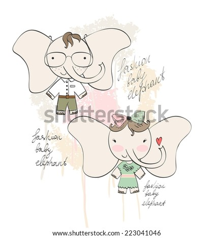 Fashion elephant girl and boy. Vector illustration - stock vector