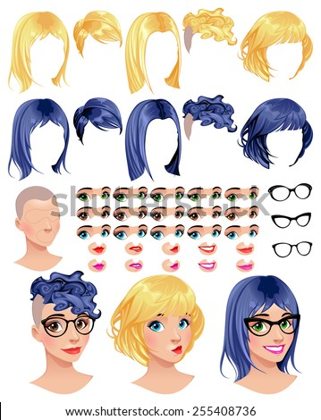 Fashion female avatars. 5 hairstyles in 2 colors, 5 eyes in 3 colors, 5 mouths in 2 colors, 3 glasses, 1 head, for multiple combinations. Some previews on the bottom. Vector file, isolated objects. - stock vector