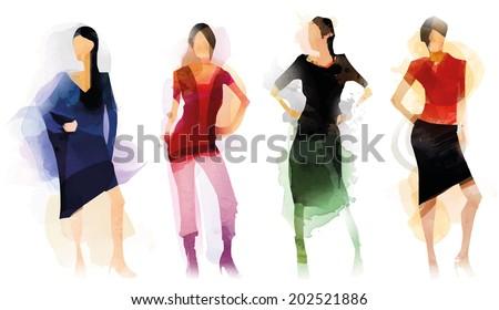 Fashion Four - stock vector