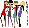 fashion girl 2 - stock vector