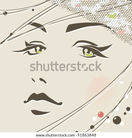 Fashion girl face. Makeup, accessories - stock vector