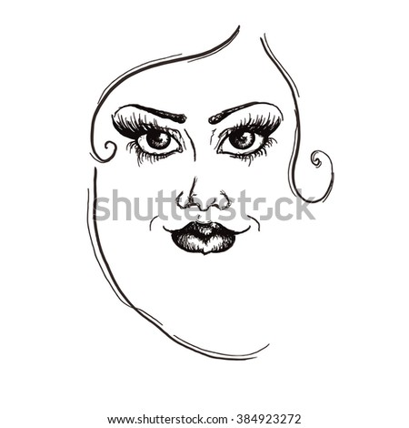 Fashion girl face with black lines woman portrait pencil drawing sketch woman illustration