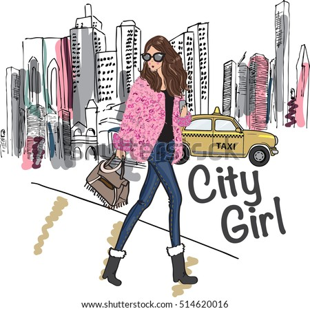 fashion Girl illustration in the city