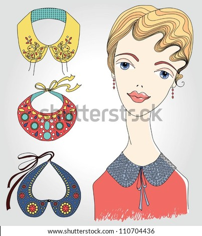 Fashion girl in detachable collar