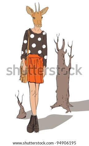 fashion girl in roe deer mask