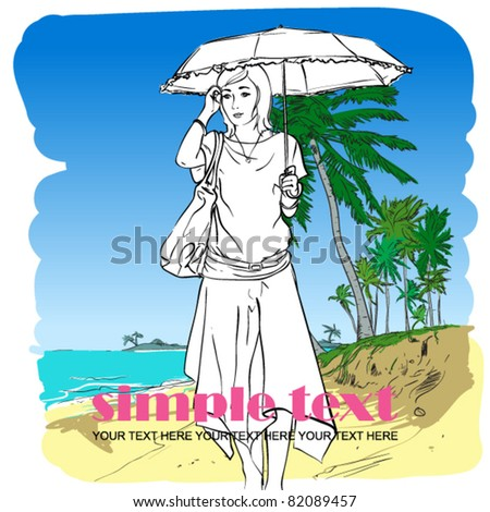 Fashion girl in sketch-style on a beach-background. Vector illustration. Place for your text. - stock vector