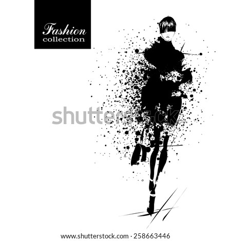 Fashion girl in sketch-style. Vector illustration. - stock vector