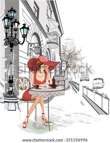 Fashion girl in the street cafe. - stock vector