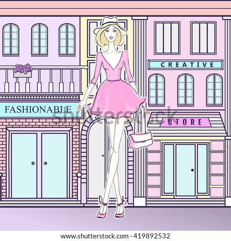 Fashion girl on the street. Cute girl in pink dress. Young model walking to the shops. Fashionable woman. Girl goes shopping. - stock vector