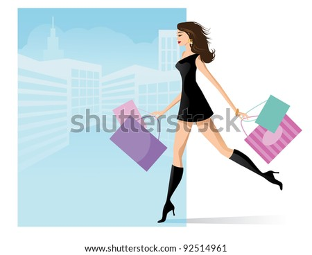 Fashion Girl Shopping EPS 8 vector, no open shapes or strokes, grouped and layered for easy editing.