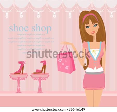 Fashion girl shopping in shoe shop - stock vector
