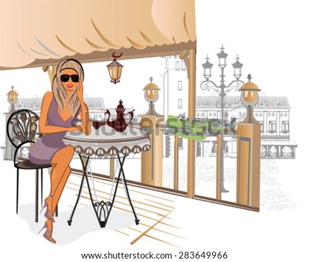 Fashion girl sitting in the cafe in the old town - stock vector