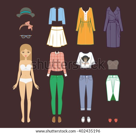 Fashion girl. Vector stylish fashion set of woman's clothes, accessories. Casual woman style. Fashion beautiful blonde girl and stylish clothes - stock vector