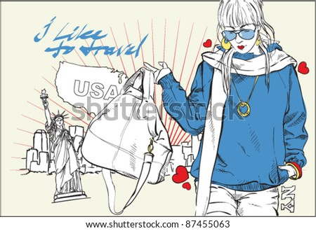Fashion girl with bag in sketch-style on a usa-background. Vector illustration. Place for your text. - stock vector