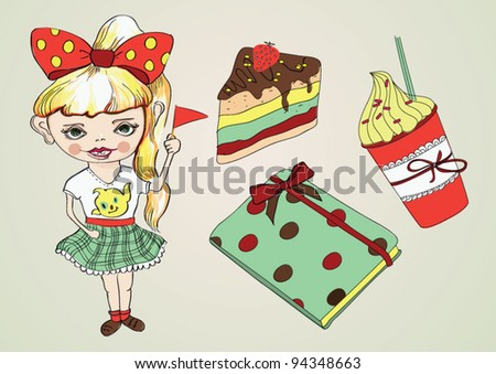 Fashion girl with cake, diary and coffee