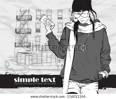Fashion girl with coffee-cup in sketch style on a street  background. Vector illustrator.