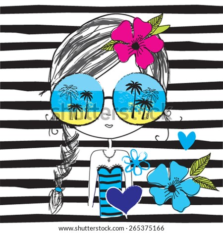 fashion girl with glasses on the beach, T-shirt design, striped background vector illustration - stock vector