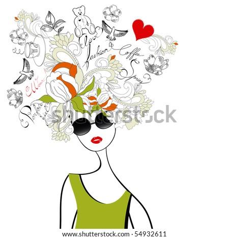 Fashion girl with original hair - stock vector