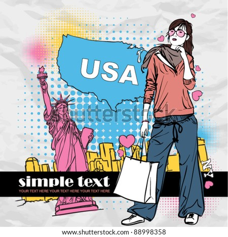 Fashion girl with shopping bag in sketch-style on a usa-background. Vector illustration. Place for your text. - stock vector