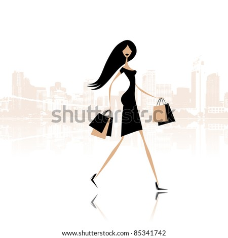 Fashion girl with shopping bags on the city street - stock vector