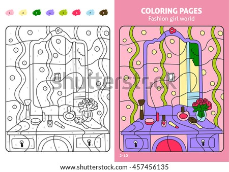 Fashion Girl World Coloring Page For Kids Makeup Printable Design Book