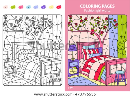 Fashion Girl World Coloring Pages Kids Stock Photo (Photo, Vector ...
