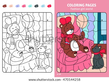 Fashion Girl World Coloring Pages For Kids Teddy Printable Design Book