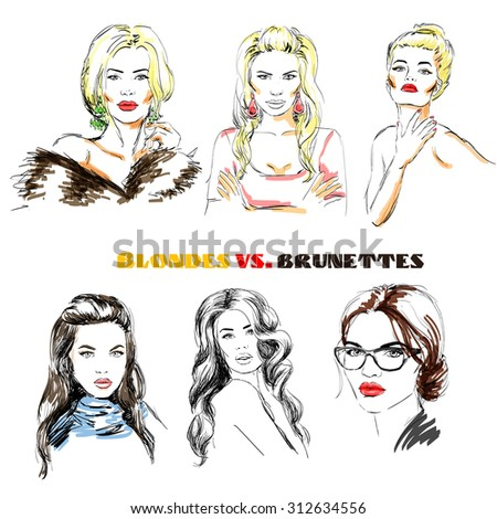 fashion girls blondes and brunettes hand drawn - stock vector