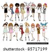 fashion girls illustration set - stock photo