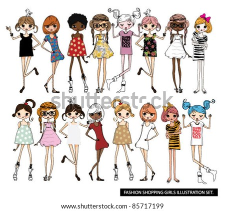 fashion girls illustration set - stock vector