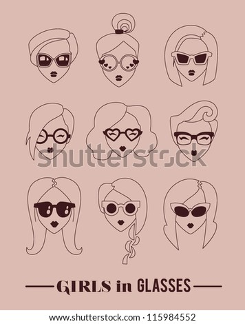 fashion girls in glasses icon set vector illustration eps 10 - stock vector