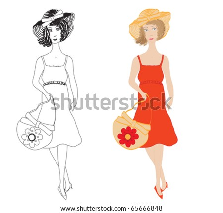 Fashion girls in  sundress with trendy hat and  handbag - stock vector