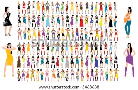 Fashion girls. More then hundred images - stock vector