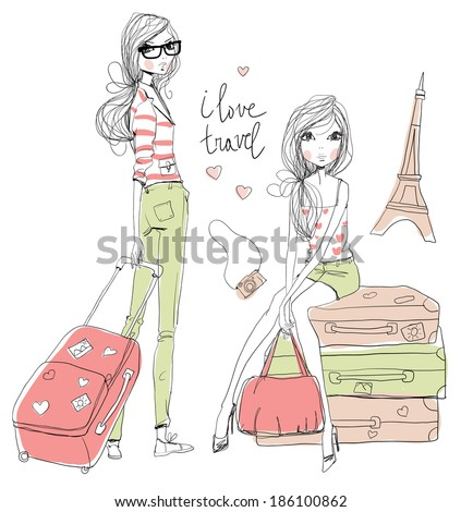 Fashion  Girls travels the world - stock vector
