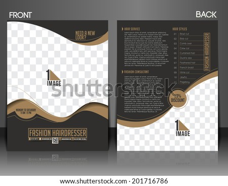 Fashion Hairdresser Front & Back Flyer Design.  - stock vector