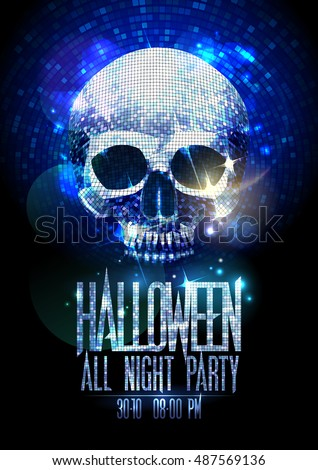 Fashion halloween party poster with silver sparkles skull, shiny headline, copy space for text
